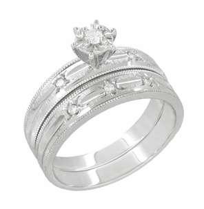 Starburst Diamond Engagement Ring and Wedding Band Set in 14 Karat White Gold - Click to enlarge