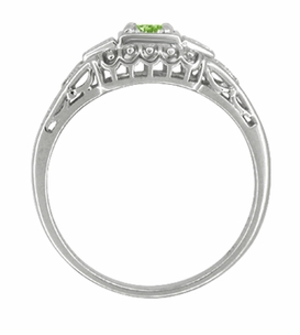 Art Deco Filigree Demantoid Garnet Engagement Ring in Platinum - Click to enlarge