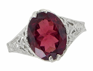 Edwardian Filigree Leaves Oval Rubellite Tourmaline Ring in 14 Karat White Gold - Click to enlarge