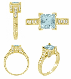 Art Deco 1 Carat Princess Cut Aquamarine and Diamond Engagement Ring in 18 Karat Yellow Gold - Click to enlarge