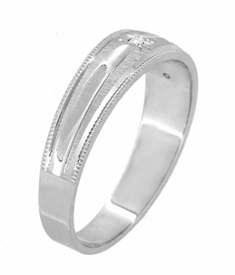 Starburst Diamond Set Wedding Band Ring in 14 Karat White Gold - Click to enlarge