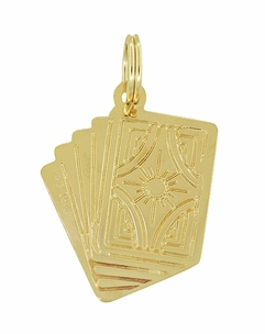 Royal Flush Card Charm in 14 Karat Yellow Gold - Click to enlarge