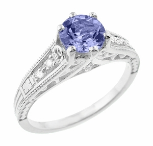 Art Deco Filigree Tanzanite and Diamond Engagement Ring in 14 Karat White Gold - Item R158TA - Image 1