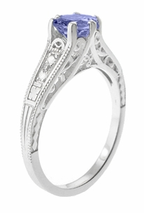 Art Deco Filigree Tanzanite and Diamond Engagement Ring in 14 Karat White Gold - Item R158TA - Image 2
