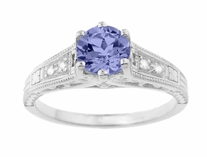 Art Deco Filigree Tanzanite and Diamond Engagement Ring in 14 Karat White Gold - Item R158TA - Image 4