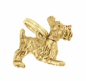 Moveable Schnauzer Charm in 14 Karat Yellow Gold - Click to enlarge