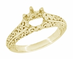 Filigree Flowing Scrolls Engagement Ring Setting for a 1/2 Carat Diamond in 14 Karat Yellow Gold
