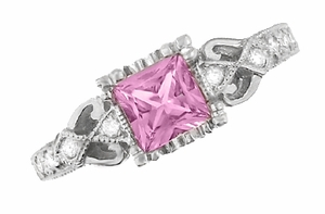 Loving Hearts Art Deco Antique Style Engraved Princess Cut Pink Sapphire Engagement Ring in 18 Karat White Gold - Click to enlarge