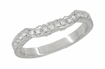 Art Deco Loving Hearts Contoured Engraved Antique Design Wheat Diamond Wedding Ring in 18 Karat White Gold
