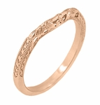 Art Deco Flowers and Wheat Engraved Filigree Wedding Band in 14 Karat Rose Gold