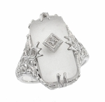 Art Deco Filigree Crystal and Diamond Set Ring in 14 Karat White Gold