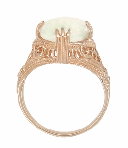 Art Deco White Opal Filigree Ring in 14 Karat Rose Gold - Click to enlarge