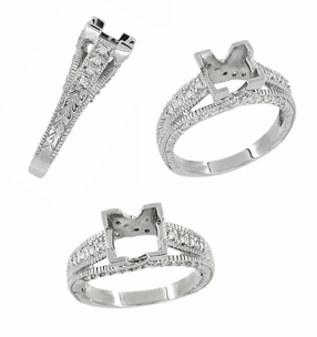 X & O Kisses 1 Carat Princess Cut Diamond Engagement Ring Setting in 18 Karat White Gold - Click to enlarge