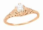 Art Deco Filigree Flowers and Wheat White Sapphire Engraved Engagement Ring in 14 Karat Rose Gold