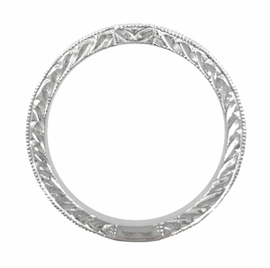Art Deco Diamond Engraved Wedding Ring in 18 Karat White Gold - Click to enlarge