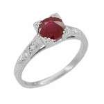 Art Deco Ruby and Diamonds Engraved Engagement Ring in 18 Karat White Gold, Vintage Fishtail Ruby Birthstone Engagement Ring