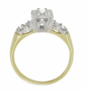 Vintage Art Deco Clover Diamond Engagement Ring in 14 Karat Yellow and White Gold - Click to enlarge