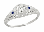 Art Deco Vintage Engraved Filigree Diamond Engagement Ring with Side Sapphires in Platinum