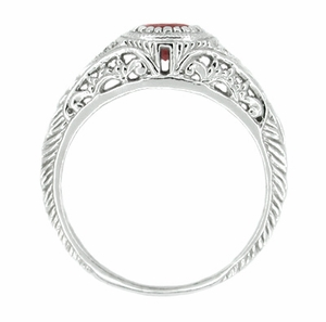 Art Deco Engraved Ruby and Diamond Filigree Engagement Ring in 14 Karat White Gold - Click to enlarge