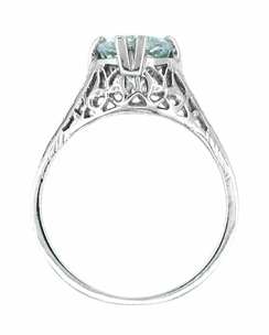 Art Deco Aquamarine Trellis Filigree Engagement Ring in 14 Karat White Gold - Click to enlarge