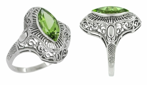 Art Deco Peridot Filigree Cocktail Ring in 14 Karat White Gold - Click to enlarge