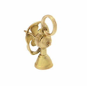 Moveable Vintage Electric Fan Charm in 14 Karat Yellow Gold - Click to enlarge