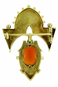 Antique Victorian Hardstone Cameo Brooch in 14 Karat Yellow Gold - Click to enlarge