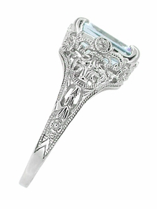 Emerald Cut Aquamarine Filigree Edwardian Engagement Ring in 14 Karat White Gold - Item R618 - Image 2