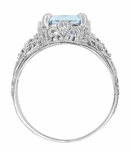 Emerald Cut Aquamarine Filigree Edwardian Engagement Ring in 14 Karat White Gold - Item R618 - Image 3