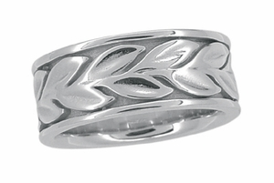 Engraved Eternal Leaves Heavy Wide Wedding Band - 8mm Wide - 14K White Gold - Item R805 - Image 1