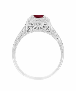Filigree Scrolls Engraved Ruby Engagement Ring in 14 Karat White Gold - Click to enlarge
