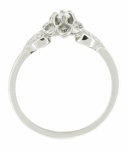 Flowers and Leaves Diamond Promise Ring in 14 Karat White Gold - Click to enlarge