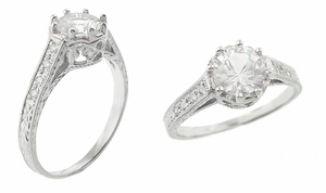 Royal Crown 1 Carat Antique Style Engraved 18 Karat White Gold Engagement Ring Setting - Click to enlarge