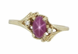 Star Ruby and Diamonds Twist Estate Ring in 10 Karat Gold - Item R921 - Image 1