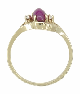 Star Ruby and Diamonds Twist Estate Ring in 10 Karat Gold - Item R921 - Image 2