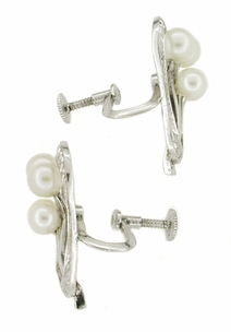 Vintage Mikimoto Pearl Earrings in Sterling Silver - Click to enlarge
