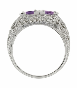 Art Deco Amethyst Duo Filigree Ring in 14 Karat White Gold - Click to enlarge