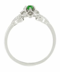 Flowers and Leaves Emerald Ring in 14 Karat White Gold - Click to enlarge
