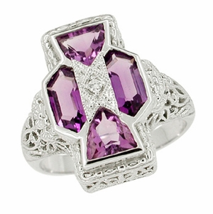 Art Deco Filigree Happy Family 4 Stone Amethyst and Diamond Filigree Ring in 14 Karat White Gold - Item RV6 - Image 1