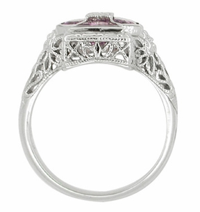 Art Deco Filigree Happy Family 4 Stone Amethyst and Diamond Filigree Ring in 14 Karat White Gold - Item RV6 - Image 3