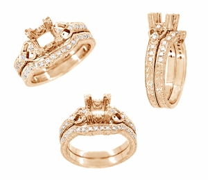 Loving Hearts 3/4 Carat Princess Cut Diamond Engraved Antique Style Engagement Ring Setting in 14 Karat Rose ( Pink ) Gold - Item R459R - Image 3