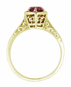 Art Deco Rhodolite Garnet Engraved Filigree Ring in 14 Karat Yellow Gold - Click to enlarge