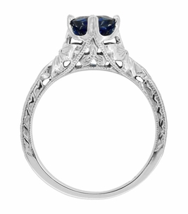 Art Deco Filigree Flowers and Wheat Engraved Sapphire Engagement Ring in 18 Karat White Gold - Item R356W50S - Image 2