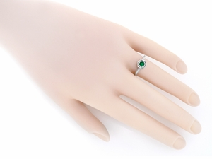 Art Deco Filigree Emerald Engagement Ring in 14 Karat White Gold - Click to enlarge