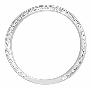 Art Deco Engraved Wheat Wedding Band in 14 Karat White Gold - Item R858W14ND - Image 1