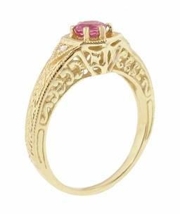 Art Deco Pink Sapphire and Diamond Filigree Engraved Engagement Ring in 14 Karat Yellow Gold - Click to enlarge