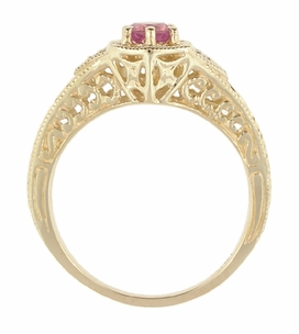 Art Deco Pink Sapphire and Diamond Filigree Engraved Engagement Ring in 14 Karat Yellow Gold - Item R149YPS - Image 2