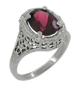 Edwardian Rhodolite Garnet Ring in 14 Karat White Gold - Item R616 - Image 1