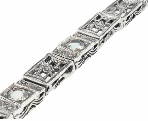 Art Deco Filigree Straightline Blue Topaz Bracelet in Sterling Silver - Click to enlarge