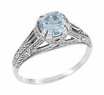 Art Deco Blue Topaz Filigree Engraved Engagement Ring in Sterling Silver